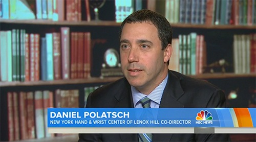 Owing to his expertise on thumb injuries, Dr. Dan Polatsch discusses overuse injures from texting on NBC's Today Show